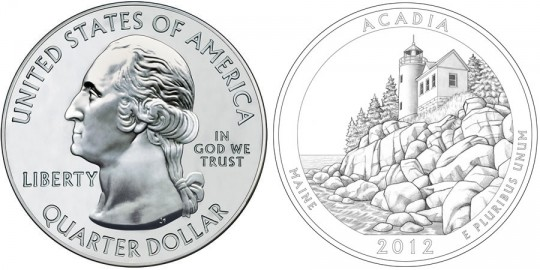 2012 Acadia America the Beautiful Silver Bullion Coin (US Mint images)