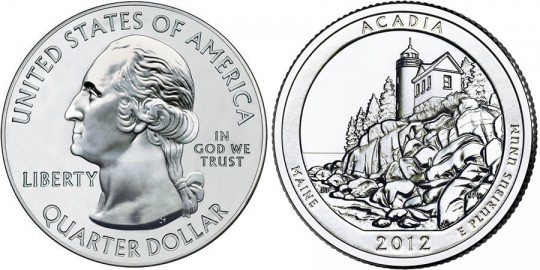 2012 Acadia America the Beautiful Coin (Related Quarter Dollar Shown) (US Mint images)