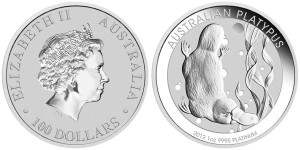 2012 Australian Platypus Platinum 1 Oz Bullion Coin