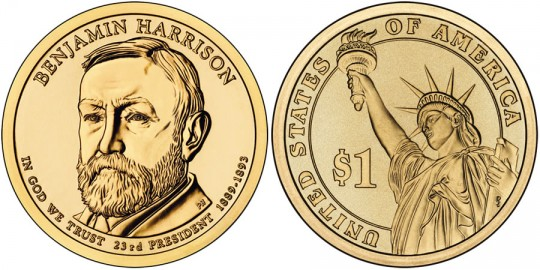 2012 Benjamin Harrison Presidential $1 Coin (US Mint images)