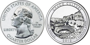 2012 Chaco Culture America the Beautiful Coin (Related Quarter Dollar Shown) (US Mint images)