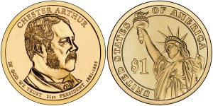 2012 Chester Arthur Presidential 1 Coin (US Mint images)