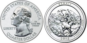 2012 Denali America the Beautiful Coin (Related Quarter Dollar Shown) (US Mint images)