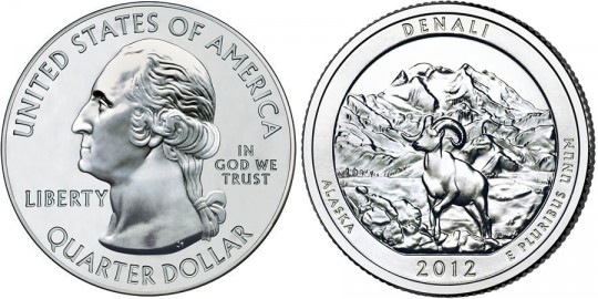 2012 Denali National Park Quarter (US Mint images)