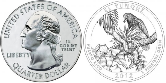 2012 El Yunque America the Beautiful Silver Bullion Coin (US Mint images)