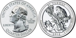 2012 El Yunque America the Beautiful Coin (related Quarter Dollar Shown) (US Mint images)