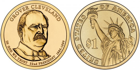 2012 Grover Cleveland (1st Term) Presidential $1 Coin (US Mint images)