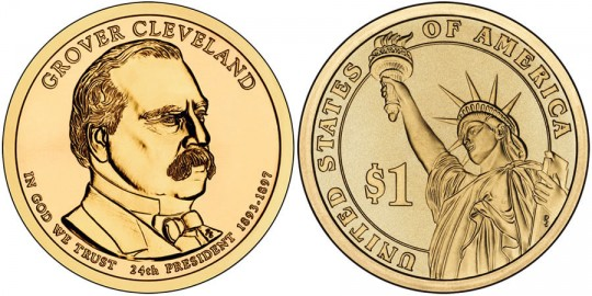2012 Grover Cleveland (2nd Term) Presidential $1 Coin (US Mint images)