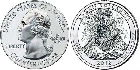 2012 Hawaii Volcanoes National Park Quarter (US Mint images)
