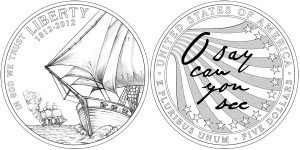 2012 Star-Spangled Banner Commemorative $5 Gold Coin (line-art) (US Mint images)
