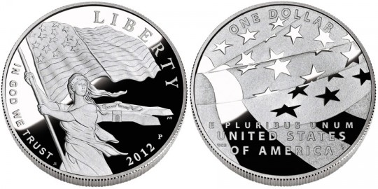 2012 Star-Spangled Banner Commemorative Silver Dollar Coin (US Mint images)