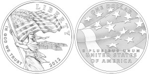 2012 Star-Spangled Banner Commemorative Silver Dollar Coin (line-art) (US Mint images)