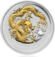2012 Year of the Dragon Gilded Silver Coin