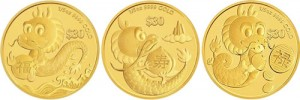 2012 Year of the Dragon Gold 'Prosperity', 'Longevity' and 'Success' Three-Coin Set