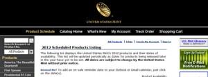 2012 US Mint Product Schedule (US Mint website image)