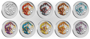 2012 Year of the Dragon Silver Ten-Coin Set