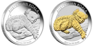 2012 Australian Koala 5 oz Silver Coin & 1 oz Gilded Silver Coin (Perth Mint images)