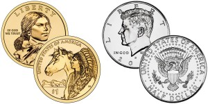 2012 Native American $1 Coins and 2012 Kennedy Half Dollars (US Mint images)