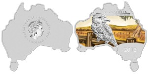 Australian Map-Shaped Kookaburra 2012 1 oz Silver Coin