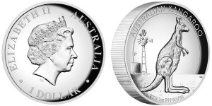 2012 Australian Kangaroo 1oz Silver Proof High Relief Coin