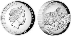 2012 Australian Koala 1 oz Silver Proof High Relief Coin