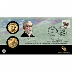 2012 Benjamin Harrison $1 Coin Cover