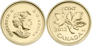 2012 Farewell to the Penny 1/25 oz Gold Coin (Royal Canadian Mint images)