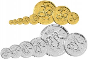 2013 Year of the Snake Gold and Silver Bullion Coins (Perth Mint images)