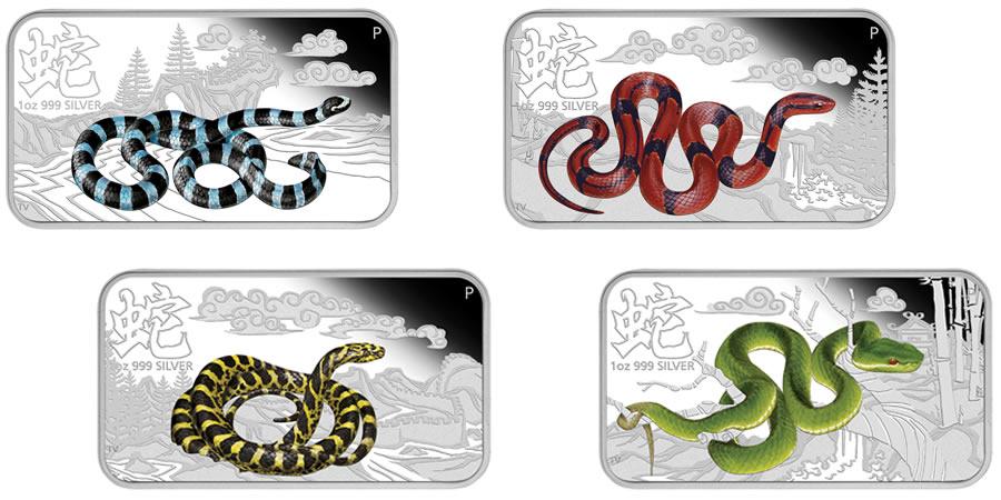 2013 Perth Mint Cook Islands Lunar Calendar Year of the Snake 4 Silver Coin Set