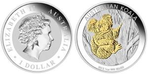 2013 Australian Koala 1 Oz Gilded Silver Coin