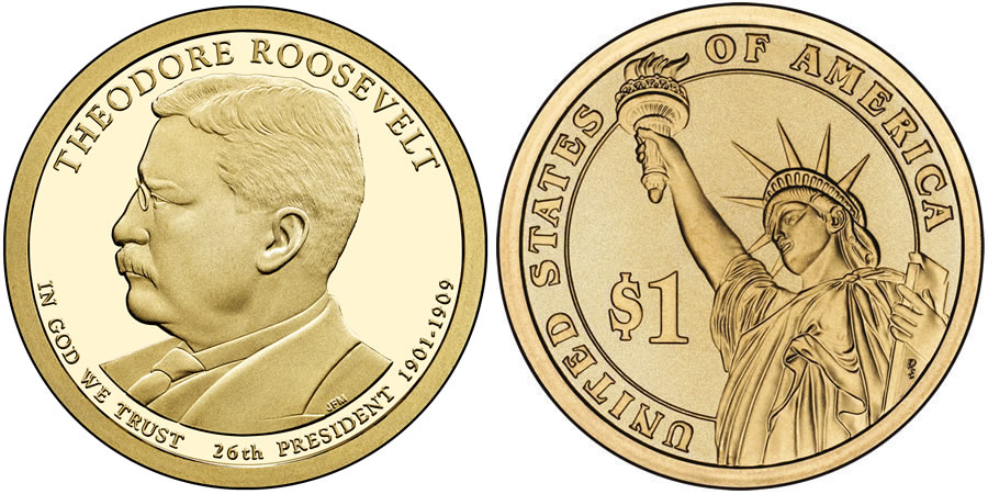 2013 Theodore Roosevelt Presidential 1 Coin