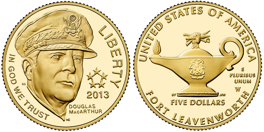 2013 5-Star Generals Commemorative $5 Gold Coin (US Mint images)