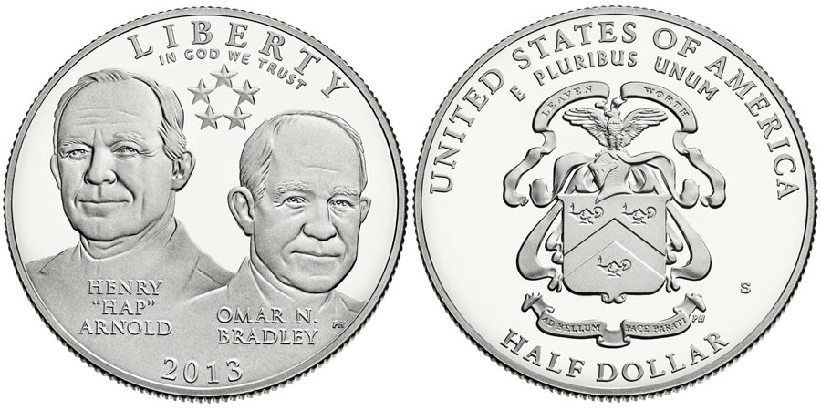 2013 5-Star Generals Commemorative Half-Dollar Coin (US Mint images)