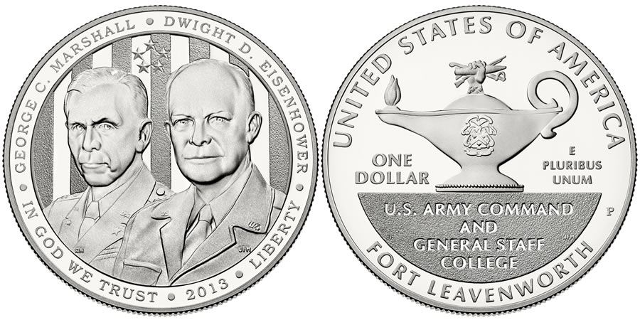 2013 5-Star Generals Commemorative Silver Dollar Coin (US Mint images)