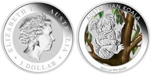 2013 Australian Outback - Koala 1 oz Silver Colored Coin