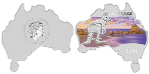 Australian Map-Shaped 2013 Kangaroo 1 oz Silver Coin