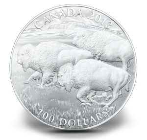 $100 for $100 Fine Silver Coin - Bison (Royal Canadian Mint image)