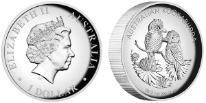 2013 Australian Kookaburra 1 oz Silver Proof High Relief Coin
