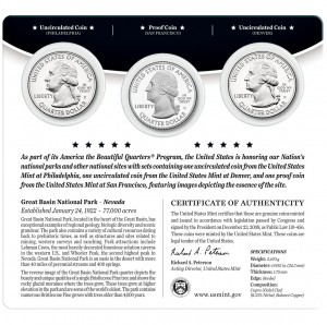2013 America the Beautiful Quarters Three-Coin Set™ (back) – Great Basin National Park (US Mint image)