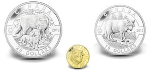 2013 Wolf Gold and Silver Coins