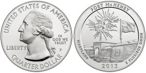 2013 Fort McHenry Five Ounce Silver Uncirculated Coin (US Mint images)