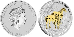 2014 Year of the Horse Gilded Silver Coin