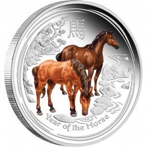 2014 Year of the Horse Silver Proof Colored Coins (Perth Mint image)