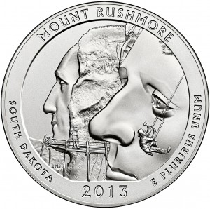 Mount Rushmore Silver Uncirculated Coin Reverse (US Mint image)