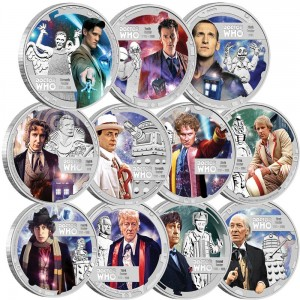 Doctor Who 50th Anniversary 2013 1_2oz Silver Proof Eleven Coin Set (Perth Mint image)