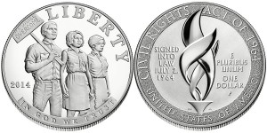 2014 Civil Rights Act of 1964 Proof Silver Dollar (US Mint image)