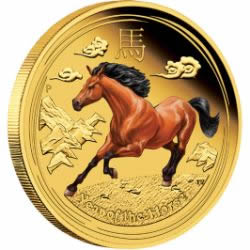 2014 Lunar Year of the Horse Colored Gold Coin