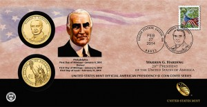 2014 Warren G. Harding $1 Coin Cover (US Mint image)