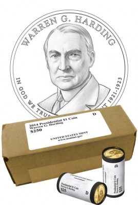 Warren G. Harding Presidential $1 Coin Line-Art (US Mint image)