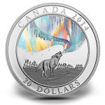 Northern Lights Howling Wolf Silver Hologram Coin